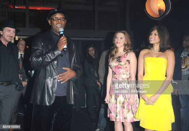 Frank Miller Samuel L Jackson Scarlett Johansson and Eva Mendes attend the launch party for Miller's latest film 'The Spirit' at The Old Sorting...