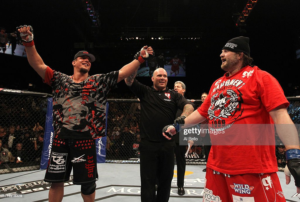 Frank Mir celebrates his unanimous decision victory over Roy Nelson during their heavyweight fight at UFC 130 at the MGM Grand Garden Arena on May 28...