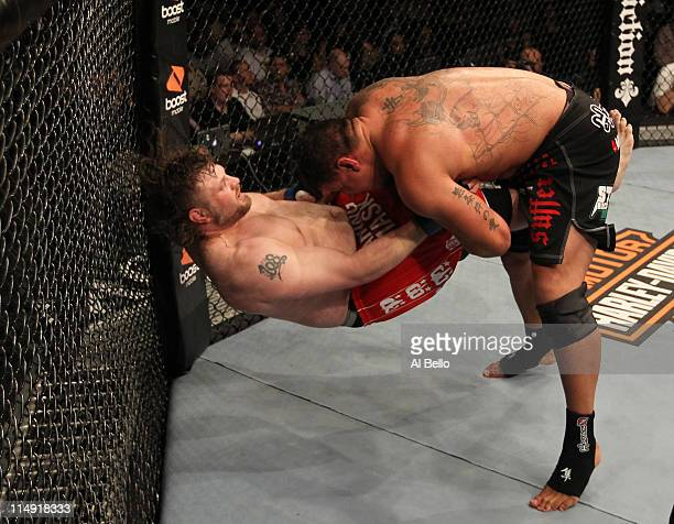 Frank Mir takes down Roy Nelson during their heavyweight fight at UFC 130 at the MGM Grand Garden Arena on May 28 2011 in Las Vegas Nevada
