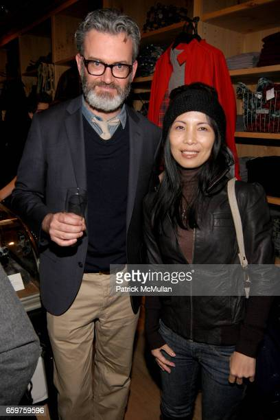 Frank Muytjens and Minako Ito attend The MONOCLE Holiday Party at the J CREW Men's Shop at The J Crew Men's Shop on November 17 2009 in New York