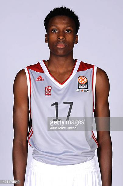 Frank Ntilikina #17 of Strasbourg poses during the 2015/2016 Turkish Airlines Euroleague Basketball Media Day at Rhenus Sport on September 26 2015 in...