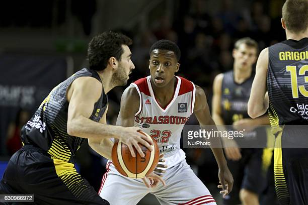 Frank Ntilikina 22 in action during Strasbourg IG vs Iberostar Tenerife Basketball Champions League match in Strasbourg France on 3 January 2017