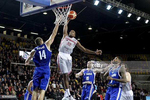 Frank Ntilikina 22 Vukota Pavic 14 Marko Mijovic 10 in action during SIG Strasbourg v KK Mornar Regular Season Group D of Basketball Champions League...