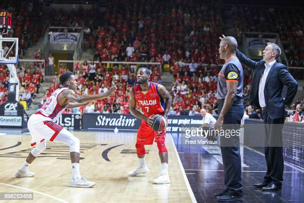 Frank Ntilikina of Strasbourg and Gedeon Pitard of Chalon sur Saone and Vincent Collet coach of Strasbourg during the Playoffs Pro A Final match...