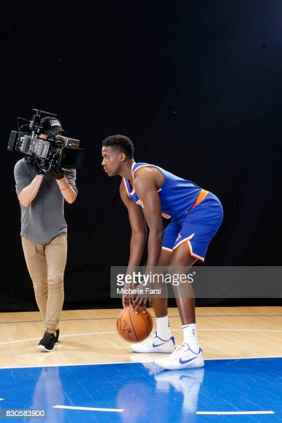 Frank Ntilikina of the New York Knicks behind the scenes during the 2017 NBA Rookie Photo Shoot at MSG training center on August 11 2017 in Tarrytown...