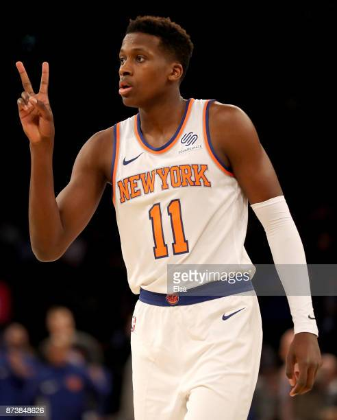 Frank Ntilikina of the New York Knicks calls out the play in the first half against the Cleveland Cavaliers at Madison Square Garden on November 13...