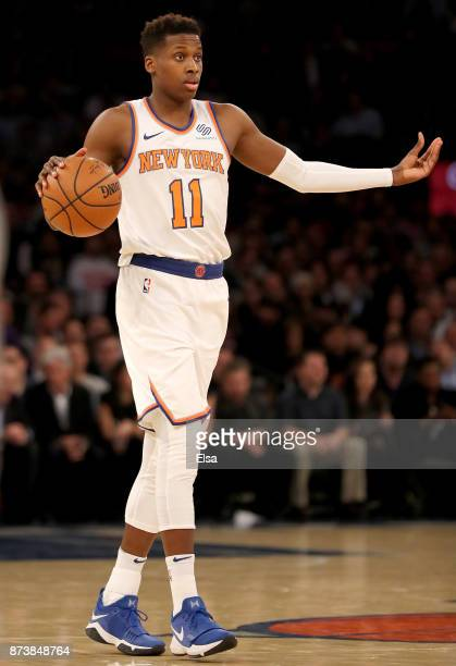 Frank Ntilikina of the New York Knicks calls out the play in the second half against the Cleveland Cavaliers at Madison Square Garden on November 13...