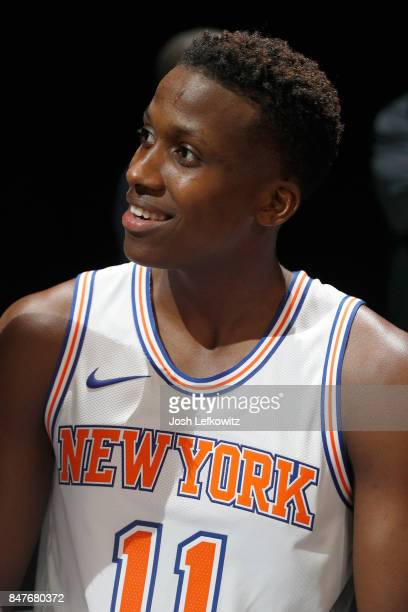 Frank Ntilikina of the New York Knicks debuts the new jersey during the unveiling of the New NBA Partnership with Nike on September 15 2017 in Los...
