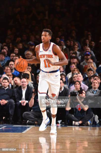 Frank Ntilikina of the New York Knicks dribbles up court against the Atlanta Hawks at Madison Square Garden on December 10 2017 in New York New York...