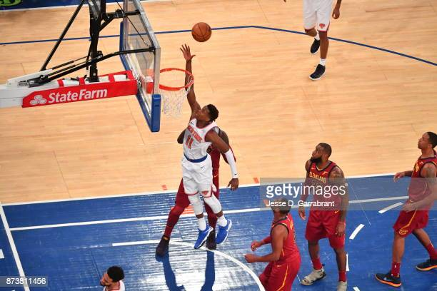 Frank Ntilikina of the New York Knicks goes up for the layup against the Cleveland Cavaliers at Madison Square Garden on November 13 2017 in New...