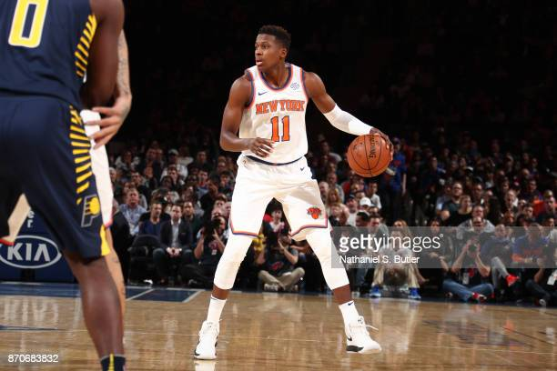 Frank Ntilikina of the New York Knicks handles the ball against the Indiana Pacers on November 5 2017 at Madison Square Garden in New York City New...