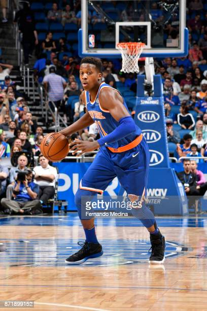 Frank Ntilikina of the New York Knicks handles the ball against the Orlando Magic on November 8 2017 at Amway Center in Orlando Florida NOTE TO USER...