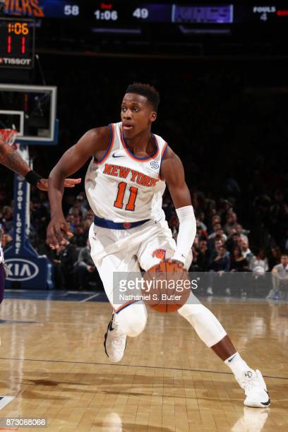 Frank Ntilikina of the New York Knicks handles the ball against the Sacramento Kings on November 11 2017 at Madison Square Garden in New York City...