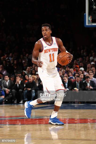 Frank Ntilikina of the New York Knicks handles the ball against the Utah Jazz on November 15 2017 at Madison Square Garden in New York City New York...