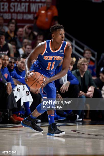 Frank Ntilikina of the New York Knicks handles the ball during the game against the Cleveland Cavaliers on October 29 2017 at Quicken Loans Arena in...