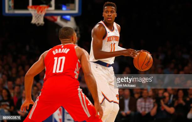 Frank Ntilikina of the New York Knicks in action against Eric Gordon of the Houston Rockets at Madison Square Garden on November 1 2017 in New York...