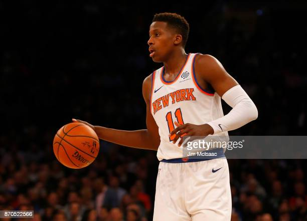 Frank Ntilikina of the New York Knicks in action against the Houston Rockets at Madison Square Garden on November 1 2017 in New York City The Rockets...