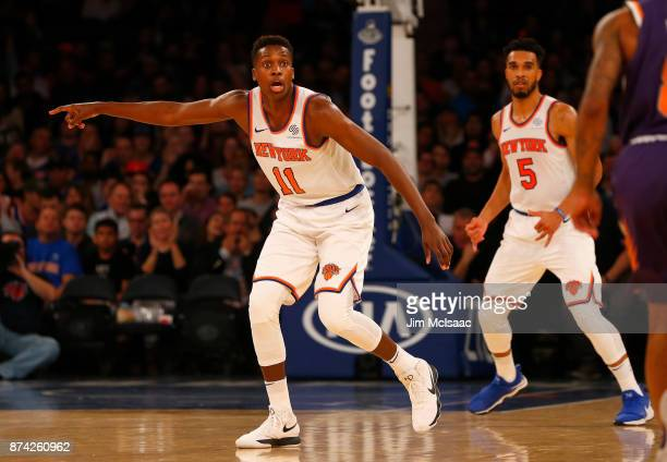 Frank Ntilikina of the New York Knicks in action against the Phoenix Suns at Madison Square Garden on November 3 2017 in New York City The Knicks...