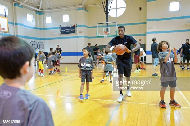 Frank Ntilikina of the New York Knicks participates in a Jr NBA Clinic on August 15 2017 at the Summit YMCA in Summit New Jersey NOTE TO USER User...
