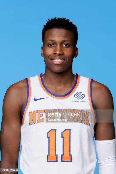 Frank Ntilikina of the New York Knicks poses for a head shot at the New York Knicks Practice Center on October 11 2017 in Tarrytown New York NOTE TO...