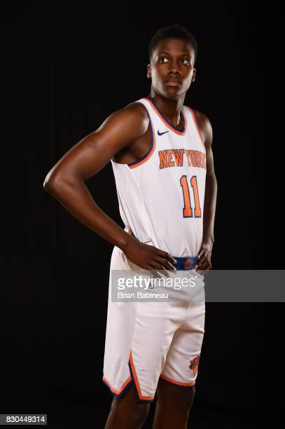Frank Ntilikina of the New York Knicks poses for a photo during the 2017 NBA Rookie Photo Shoot at MSG training center on August 11 2017 in Tarrytown...