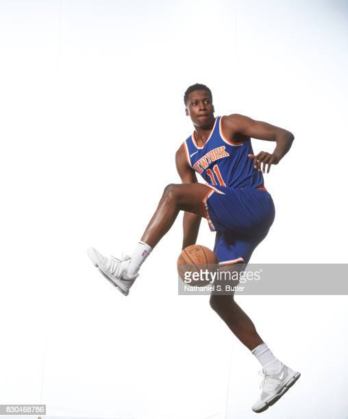 Frank Ntilikina of the New York Knicks poses for a photo during the 2017 NBA Rookie Shoot on August 11 2017 at the Madison Square Garden Training...