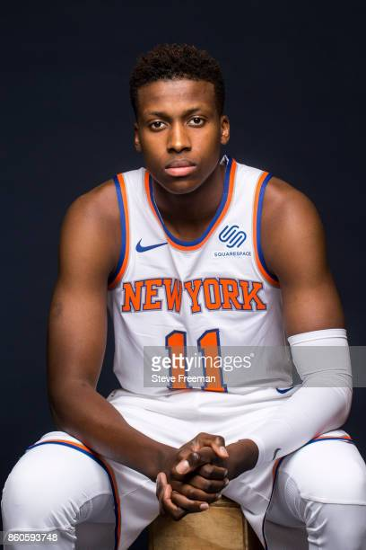 Frank Ntilikina of the New York Knicks poses for a portrait at the Knicks Practice Center on October 11 2017 in Tarrytown New York NOTE TO USER User...