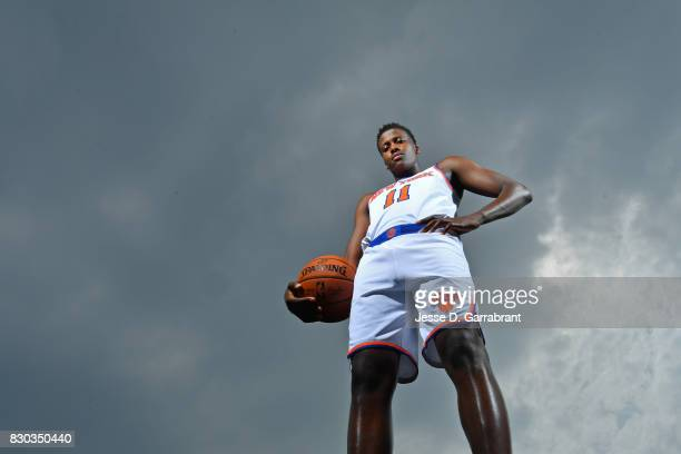 Frank Ntilikina of the New York Knicks poses for a portrait during the 2017 NBA rookie photo shoot on August 11 2017 at the Madison Square Garden...