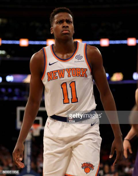 Frank Ntilikina of the New York Knicks reacts after he is called for a foul in the second half against the Phoenix Suns at Madison Square Garden on...