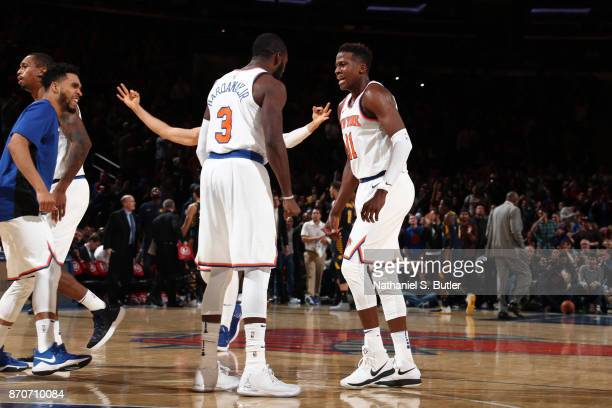 Frank Ntilikina of the New York Knicks reacts during the game against the Indiana Pacers on November 5 2017 at Madison Square Garden in New York City...