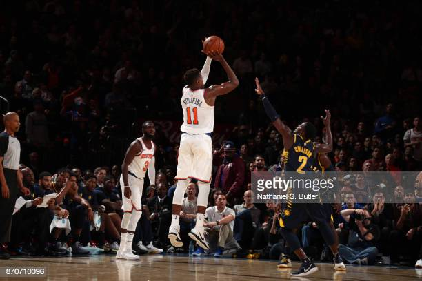 Frank Ntilikina of the New York Knicks shoots the ball against the Indiana Pacers on November 5 2017 at Madison Square Garden in New York City New...