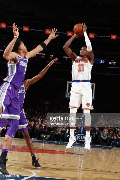 Frank Ntilikina of the New York Knicks shoots the ball against the Sacramento Kings on November 11 2017 at Madison Square Garden in New York City New...