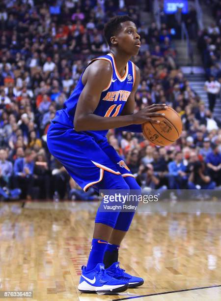 Frank Ntilikina of the New York Knicks shoots the ball during the first half of an NBA game against the Toronto Raptors at Air Canada Centre on...