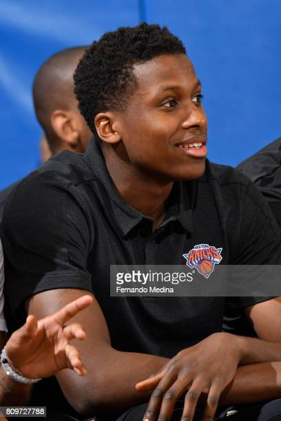 Frank Ntilikina of the New York Knicks sits on the bench during the Mountain Dew Orlando Pro Summer League against the Miami Heat on July 6 2017 at...