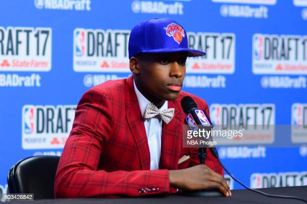 Frank Ntilikina of the New York Knicks talks to the media after being selected eighth overall at the 2017 NBA Draft on June 22 2017 at Barclays...