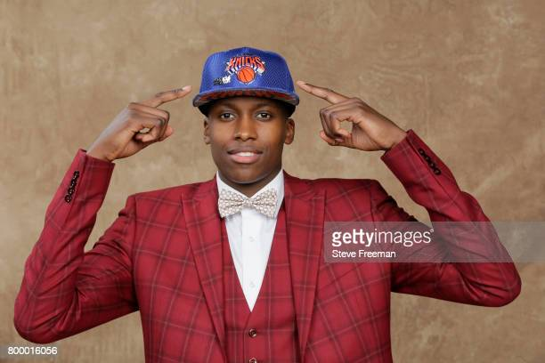 Frank Ntilikina poses for a portrait after being drafted number eight overall to the New York Knicks during the 2017 NBA Draft on June 22 2017 at...