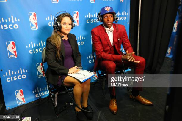 Frank Ntilikina speaks to the media after being selected eighth overall by the New York Knicks at the 2017 NBA Draft on June 22 2017 at Barclays...