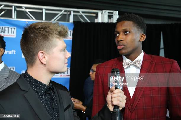 Frank Ntilikina talks to the media on the red carpet prior to the 2017 NBA Draft on June 22 2017 at Barclays Center in Brooklyn New York NOTE TO USER...
