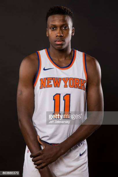 Frank Ntilikina the New York Knicks is photographed at New York Knicks Media Day on September 25 2017 in Greenburgh New York