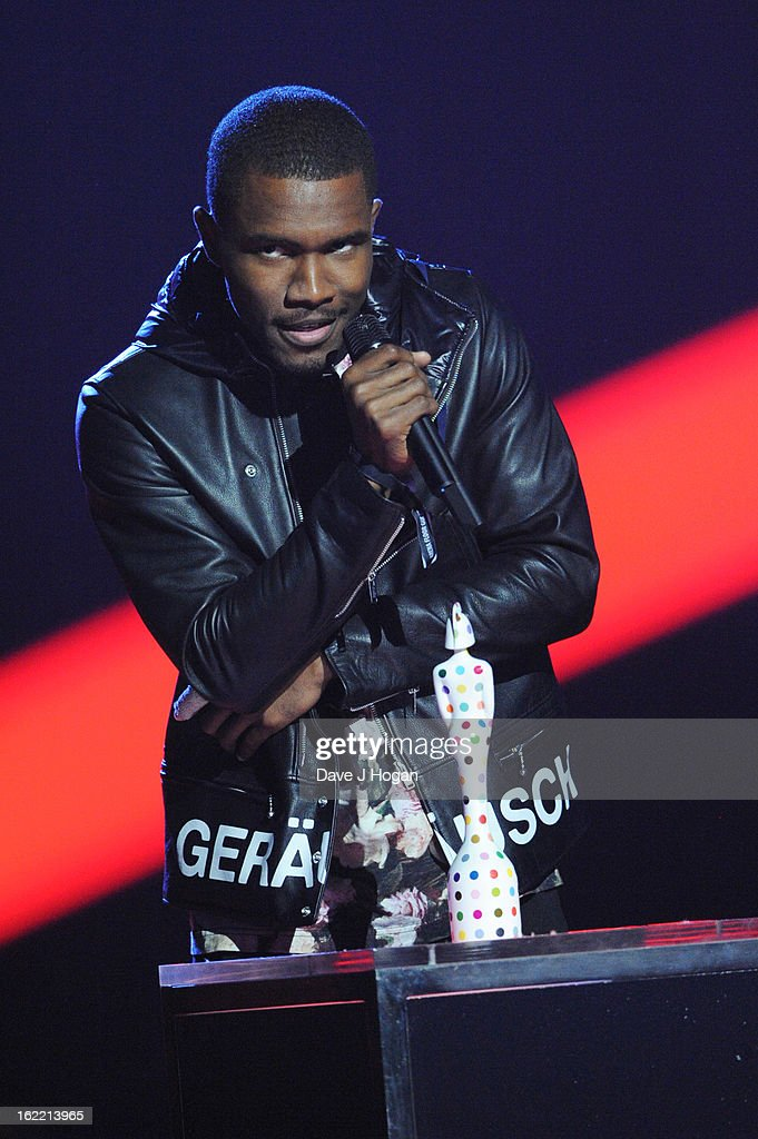 Frank Ocean accepts the International Male Award at The Brit Awards 2013 at The O2 Arena on February 20, 2013 in London, England.