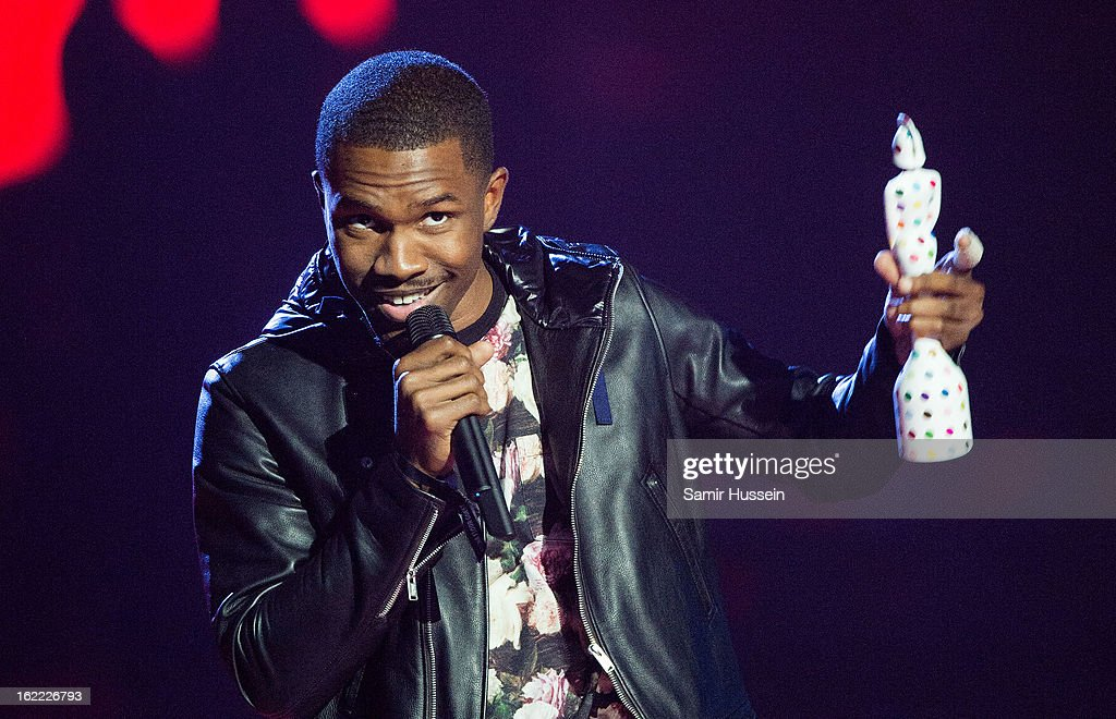 Frank Ocean accepts the International Male Award during the Brit Awards 2013 at the 02 Arena on February 20, 2013 in London, England.