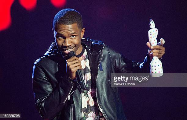 Frank Ocean accepts the International Male Award during the Brit Awards 2013 at the 02 Arena on February 20 2013 in London England