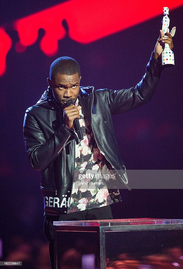 <a gi-track='captionPersonalityLinkClicked' href=/galleries/search?phrase=Frank+Ocean&family=editorial&specificpeople=7657747 ng-click='$event.stopPropagation()'>Frank Ocean</a> accepts the International Male Award during the Brit Awards 2013 at the 02 Arena on February 20, 2013 in London, England.