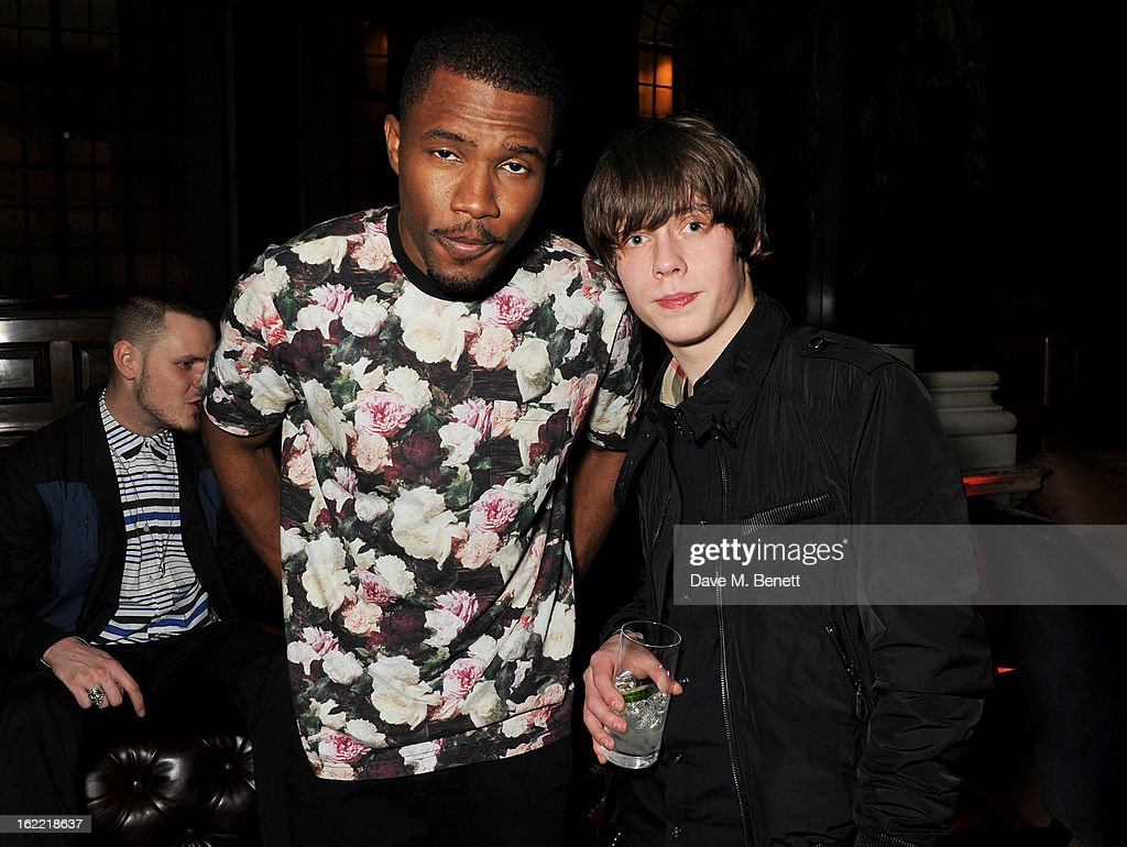 Frank Ocean (L) and Jake Bugg attend the Universal Music Brits Party hosted by Bacardi at the Soho House pop-up on February 20, 2013 in London, England.