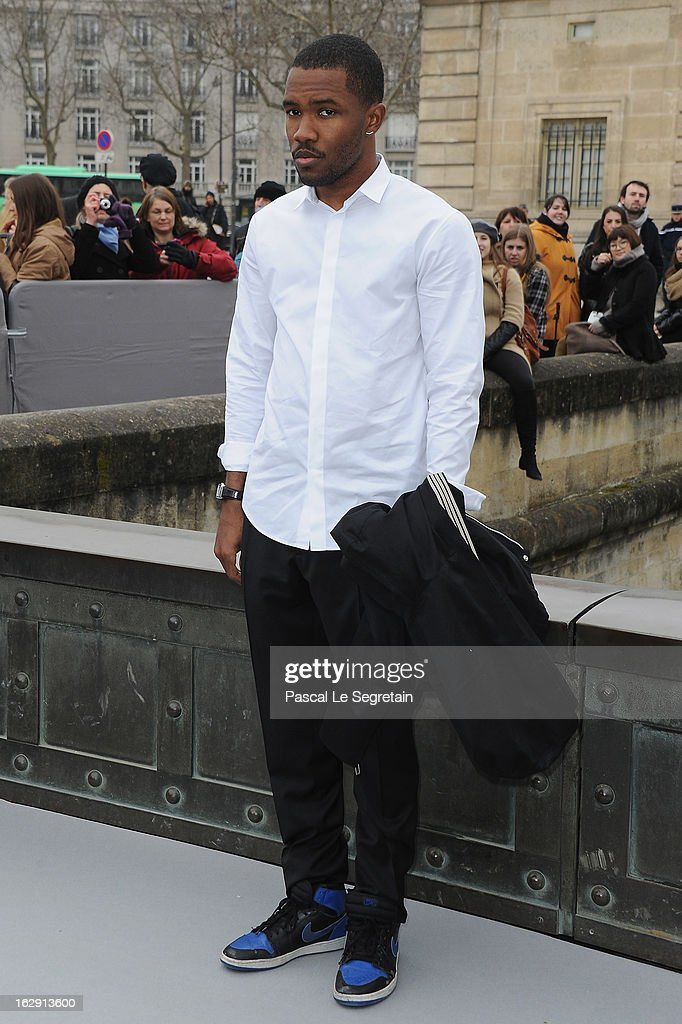 <a gi-track='captionPersonalityLinkClicked' href=/galleries/search?phrase=Frank+Ocean&family=editorial&specificpeople=7657747 ng-click='$event.stopPropagation()'>Frank Ocean</a> arrives to attend the Christian Dior Fall/Winter 2013 Ready-to-Wear show as part of Paris Fashion Week on March 1, 2013 in Paris, France.