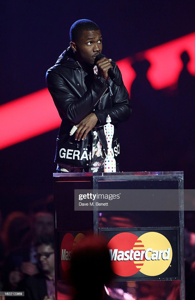 <a gi-track='captionPersonalityLinkClicked' href=/galleries/search?phrase=Frank+Ocean&family=editorial&specificpeople=7657747 ng-click='$event.stopPropagation()'>Frank Ocean</a> is presented with the award for Best International Male on stage at the Brit Awards at 02 Arena on February 20, 2013 in London, England.