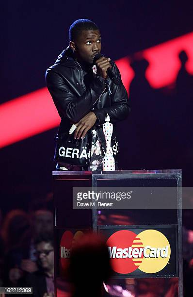 Frank Ocean is presented with the award for Best International Male on stage at the Brit Awards at 02 Arena on February 20 2013 in London England