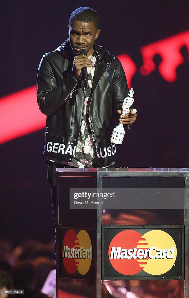 Frank Ocean is presented with the award for Best International Male on stage at the Brit Awards at 02 Arena on February 20, 2013 in London, England.