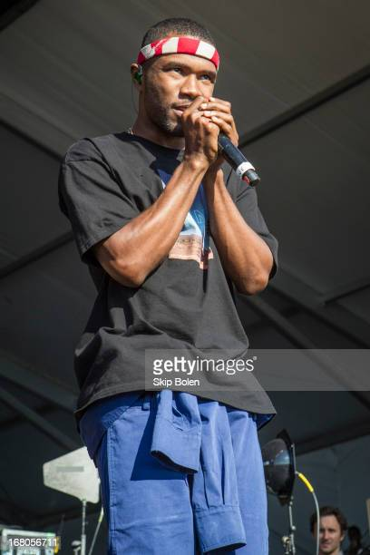 Frank Ocean performs during the 2013 New Orleans Jazz Heritage Music Festival at Fair Grounds Race Course on May 4 2013 in New Orleans Louisiana