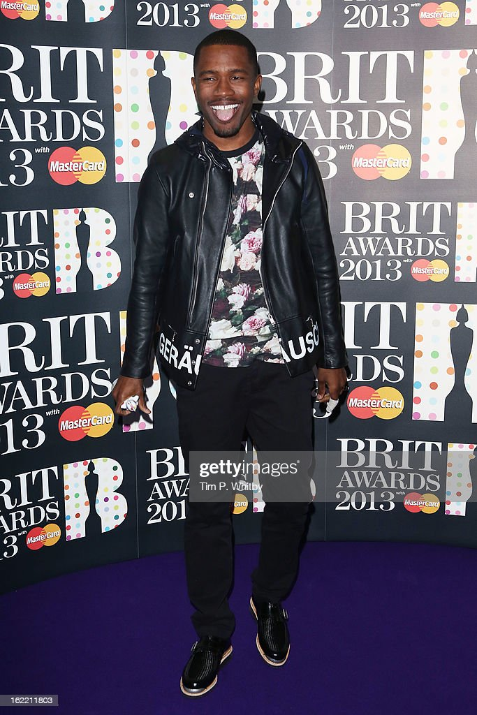 Frank Ocean poses with the International Male Solo Artist award in the press room at the Brit Awards 2013 at the 02 Arena on February 20, 2013 in London, England.